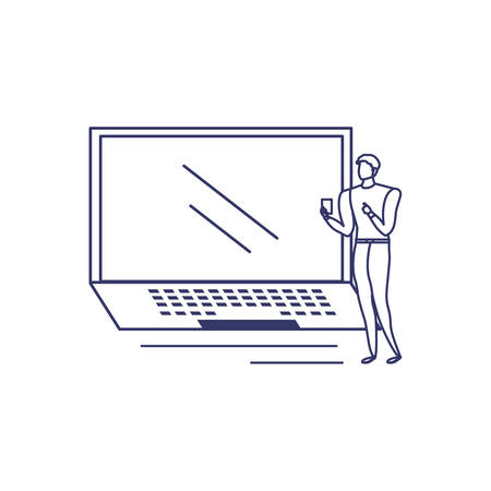 silhouette of man with laptop in white background vector illustration design Illustration