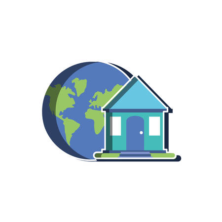 Planet sphere and house design, Continent earth world globe ocean and universe theme Vector illustration
