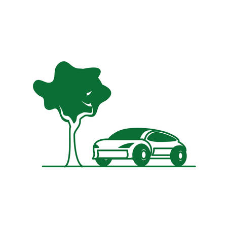 car sedan transportation with tree plant vector illustration design