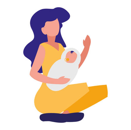 woman with baby newborn icon over white backgorund, vector illustration