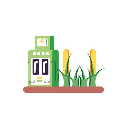 plantation corn with energy electric service station vector illustration design Ilustrace