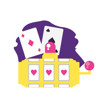 poker casino game cards with slot machine vector illustration design