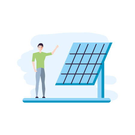 solar panel energy with young man vector illustration design