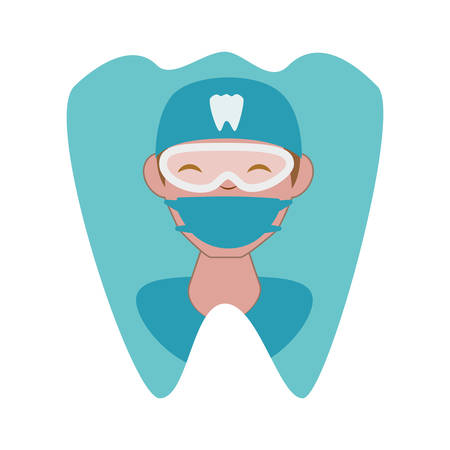 professional dentist in tooth avatar character vector illustration design