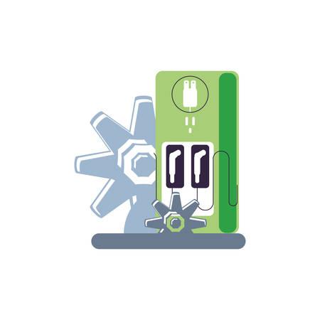 gears pinions machines with station service energy electric vector illustration design Illusztráció