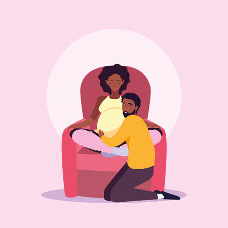 pregnant wife afro sitting in sofa with husband vector illustration design Archivio Fotografico - 134959387