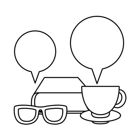 textbook with cup coffee and speech bubble vector illustration design 版權商用圖片 - 134960498