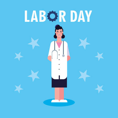 labor day label with woman doctor vector illustration design