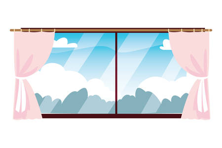 Window design, Interior home house view room modern glass and architecture theme Vector illustration Ilustrace