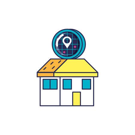 house facade with radar location vector illustration design
