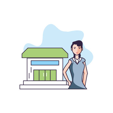 house facade with young woman beauty vector illustration design