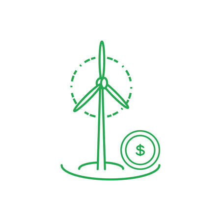 windmill air power with coin money vector illustration design 向量圖像
