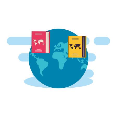passport document travel with world planet vector illustration design Vettoriali