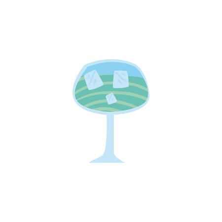 glass with refreshing drink on white background vector illustration design