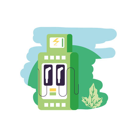 energy electric service station with leafs nature vector illustration design Ilustração