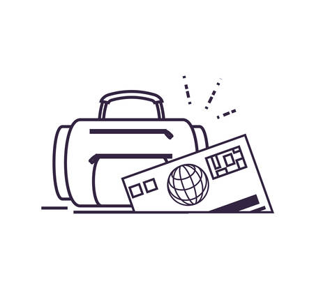 travel suitcase equipment with credit card vector illustration design