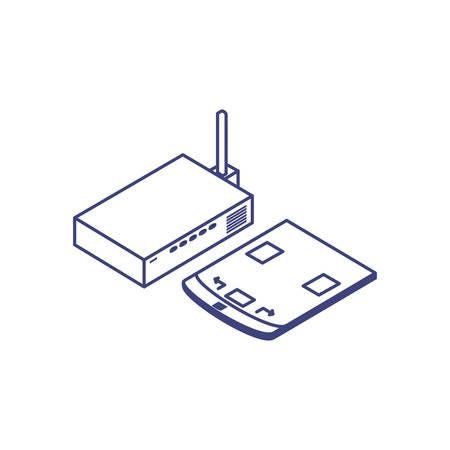 router communication with designer tablet vector illustration design Stock Vector - 134981181