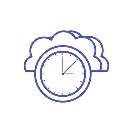 cloud computing technology with time clock vector illustration design Illustration
