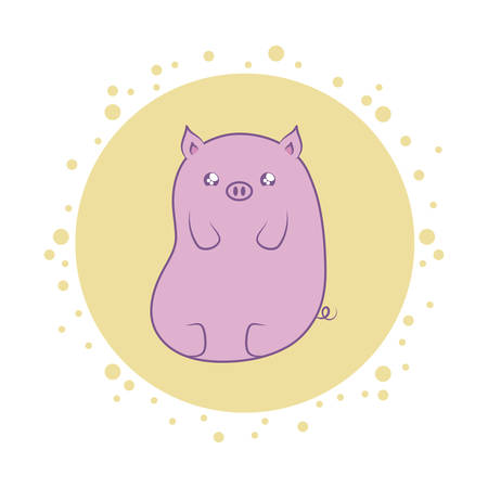 cute piggy baby animal kawaii style vector illustration design