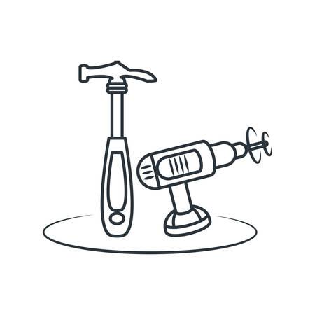 Tools design, under construction work repair progress reconstruction industry and build theme Vector illustration