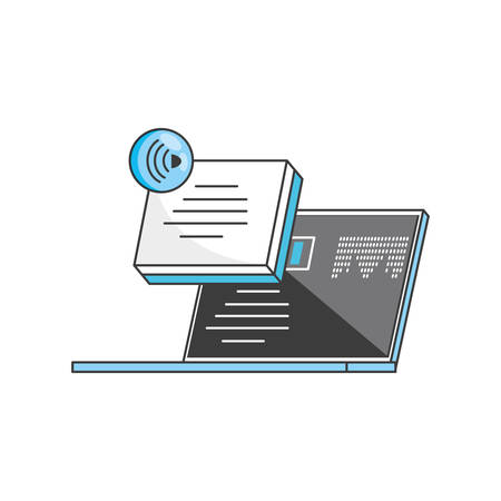 laptop computer with media player and wifi connection vector illustration design Ilustrace