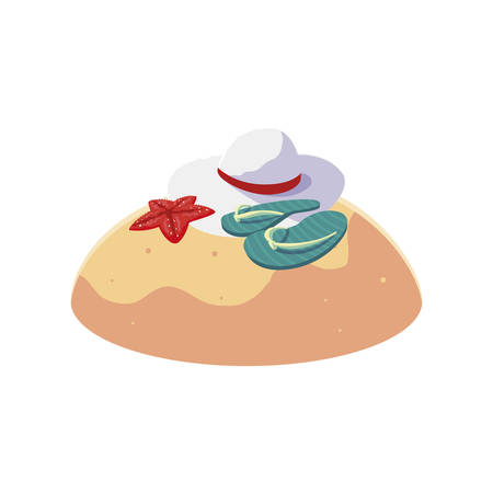 summer sand beach with flip flops scene vector illustration design
