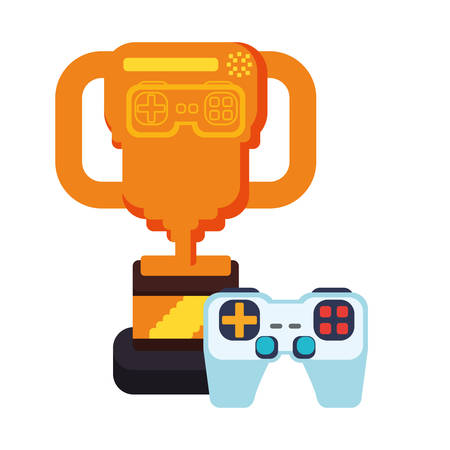 trophy award with video game control vector illustration design
