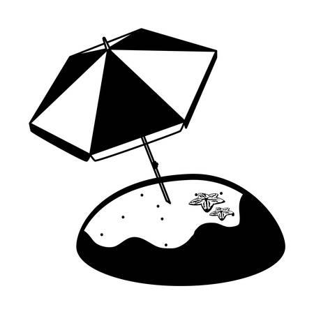 summer sand beach with umbrella and starfish vector illustration design Stock Illustratie