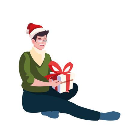 Man with santas hat design, Merry christmas season decoration card invitation celebration and holiday theme Vector illustration