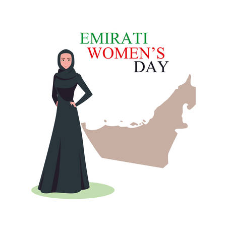 emirati women day poster with woman and map vector illustration design Vetores