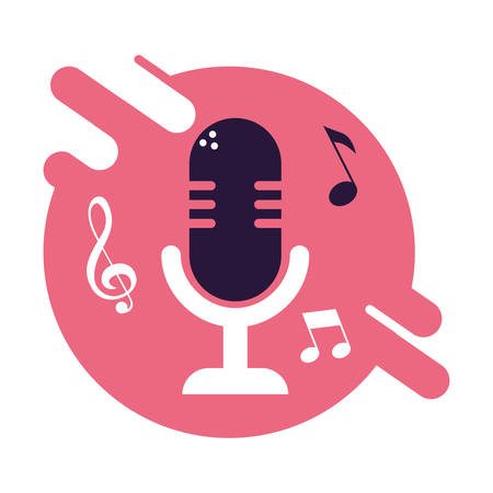banner with old microphone device vector illustration design