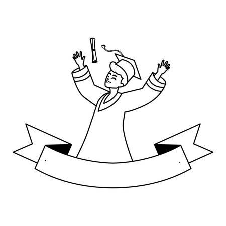 happy student boy graduated celebrating with ribbon vector illustration design