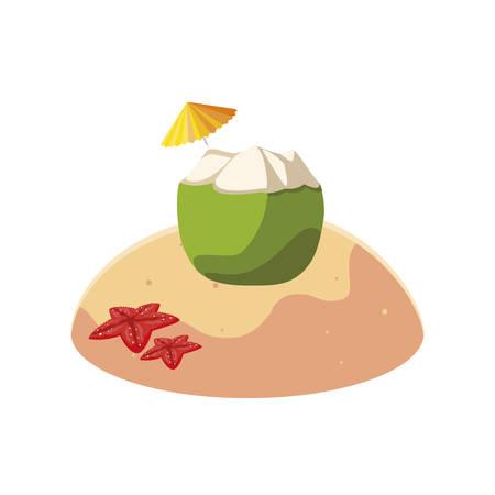 summer sand beach with coconut cocktail scene vector illustration design