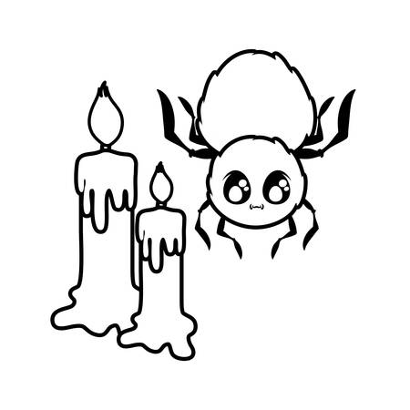 creepy spider animal with candles on white background vector illustration design