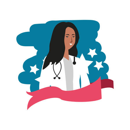 afro woman doctor worker character vector illustration design