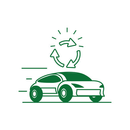 car sedan transportation with recycling arrows vector illustration design