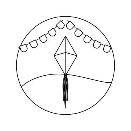 kite flying with garlands in frame circular vector illustration design