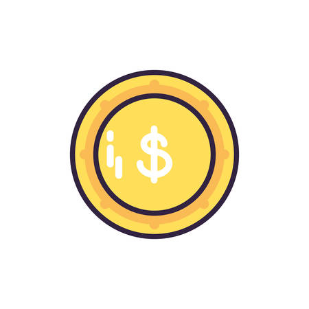 currency with symbol dollar on white background vector illustration design