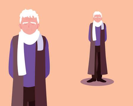 old man elder elderly adult aged vector ilustration