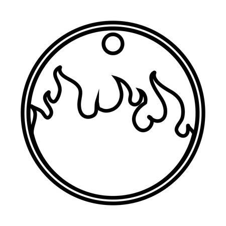 kreisförmiges Tag mit Feuerflamme-Vektor-Illustration-Design
