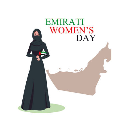 emirati women day poster with woman and map vector illustration design