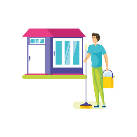 Man cartoon cleaning design, Object home work hygiene equipment domestic and housework theme Vector illustration
