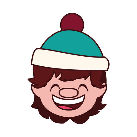 head of cute boy with hat vector illustration design