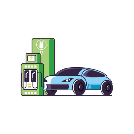 car sedan transportation with station service energy electric vector illustration design