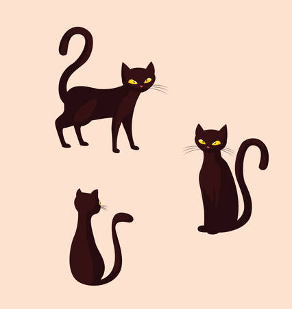 cats feline animals of halloween vector illustration design