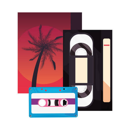 videotape beta music cassette retro 80s style vector illustration