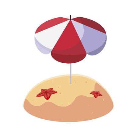 summer sand beach with umbrella and starfish vector illustration design Illustration