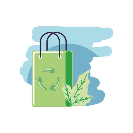 paper bag eco friendly with leafs nature vector illustration design