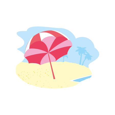 beach umbrella open in the beach vector illustration design