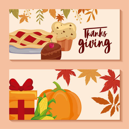 cards with label h thanksgiving and food vector illustration design